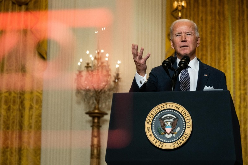 U.S. President Joe Biden delivers remarks at a virtual event hosted by the Munich Security Conference in the White House in Washington, on Feb. 19.