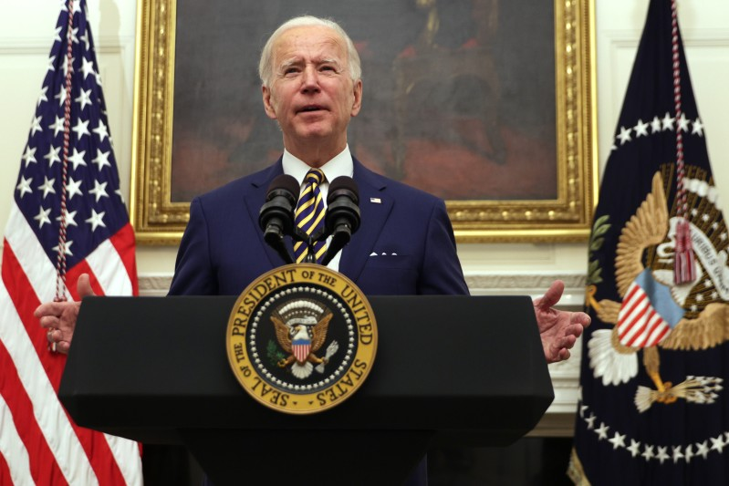 U.S. President Joe Biden speaks about the economy at the White House in Washington on Jan. 22.