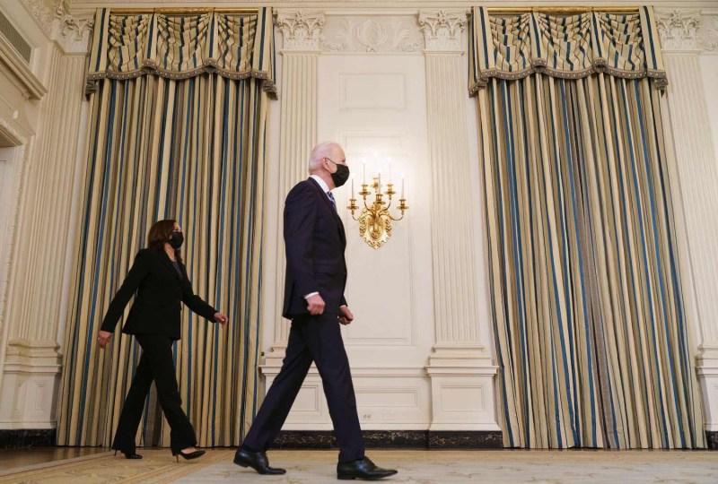 U.S. President Joe Biden and Vice President Kamala Harris arrive at the White House in on Jan. 27.