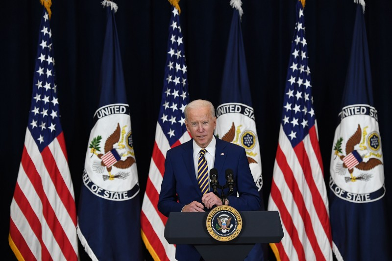 U.S. President Joe Biden speaks to staff during his first visit to the State Department in Washington, D.C., on Feb. 4.