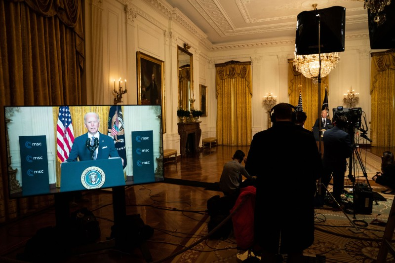 U.S. President Joe Biden delivers remarks at a virtual event hosted by the Munich Security Conference in the East Room of the White House on February 19, 2021 in Washington, D.C.
