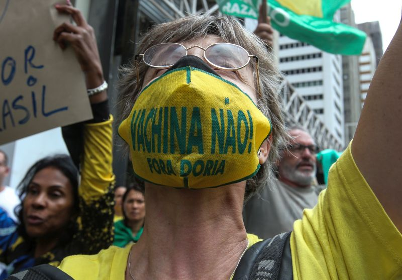 A Brazilian demonstrator takes part in a protest against mandatory COVID-19 vaccination in São Paulo on Dec. 22, 2020.