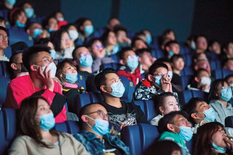 Moviegoers watch a film in Taiyuan, China, on Feb. 12,  the first day of the Lunar New Year. China's box office revenue hit a record $9.2 billion in 2019.