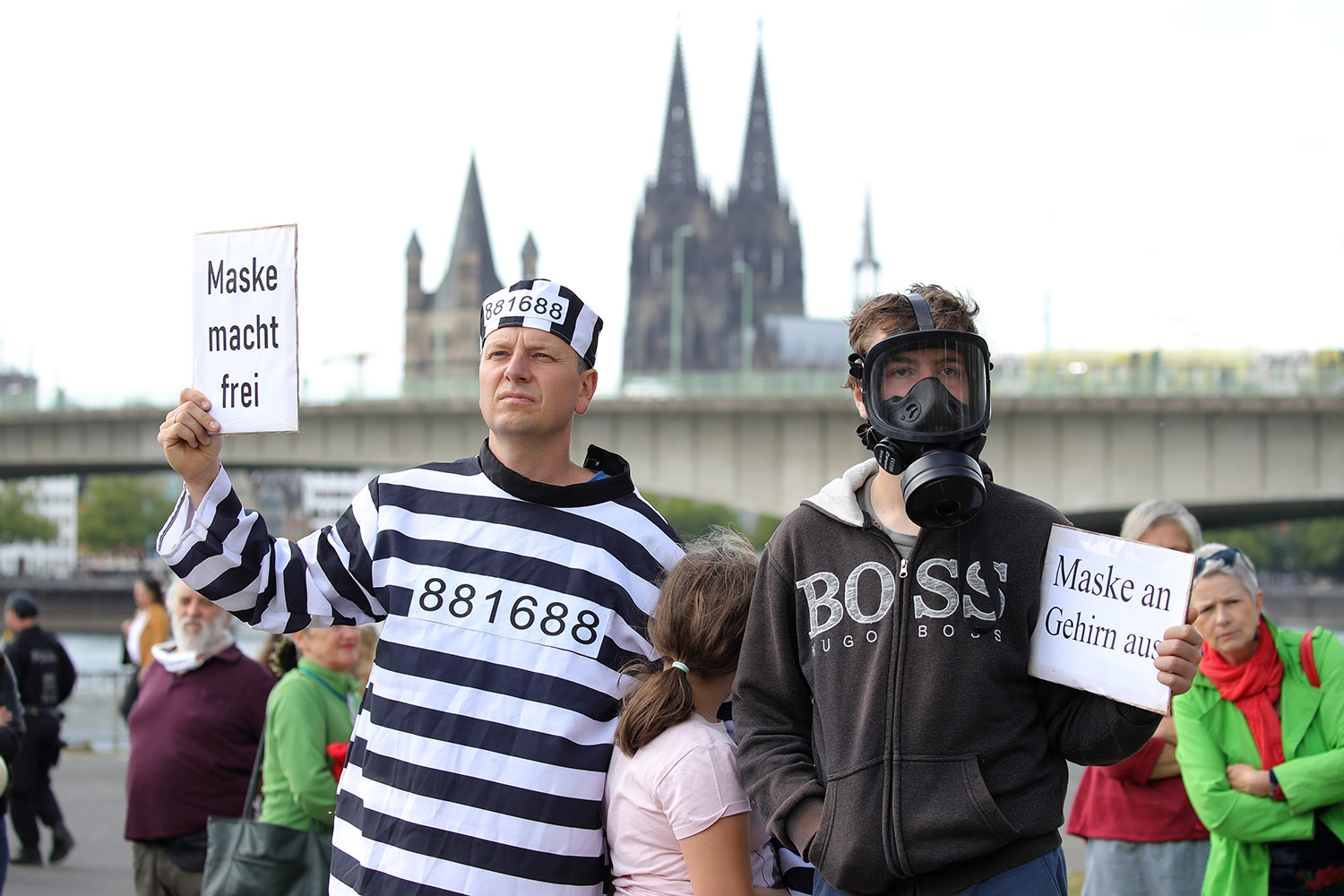Protesters gather to demonstrate against coronavirus lockdown measures in Cologne, Germany, on May 23, 2020.