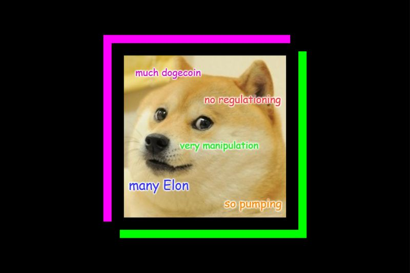 """An illustration describing the state of Dogecoin in """"doge"""" speak."""