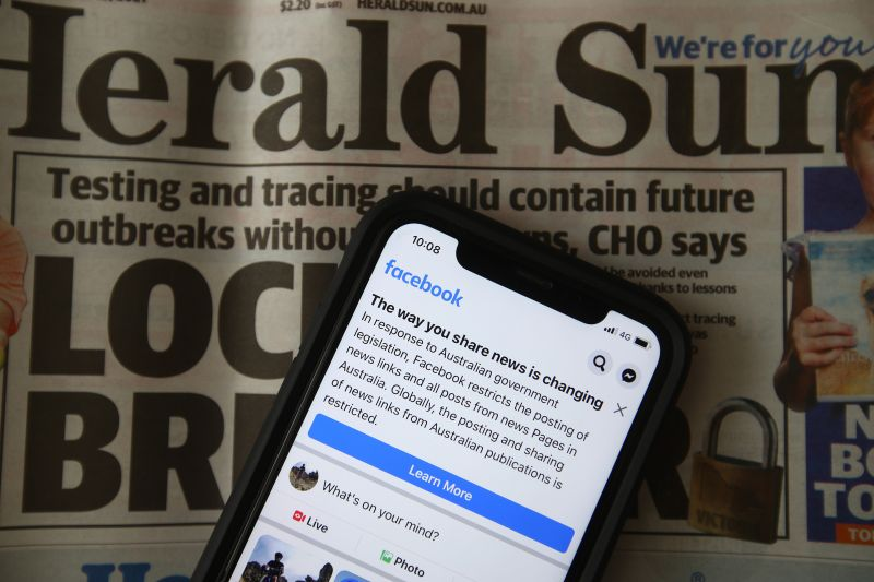 A message is seen on the Facebook mobile app in Melbourne on Feb. 18.