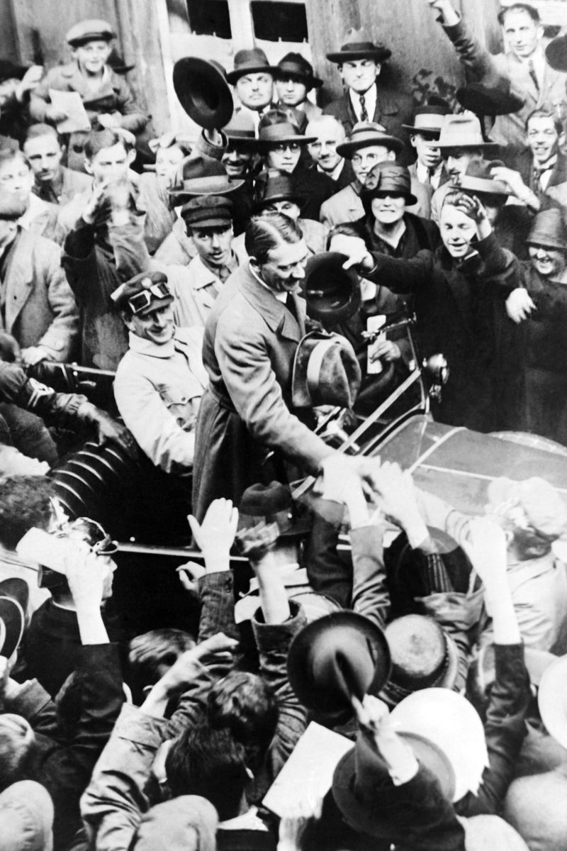 Adolf Hitler upon his release from prison after his 1923 coup attempt, known as the Beer Hall Putsch, in 1924 in Munich, Germany.