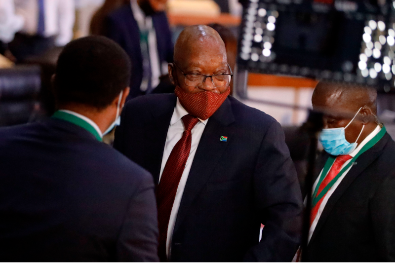 Former South African President Jacob Zuma leaves a meeting of the Judicial Commission of Inquiry Into Allegations of State Capture in Johannesburg on Nov. 16, 2020.