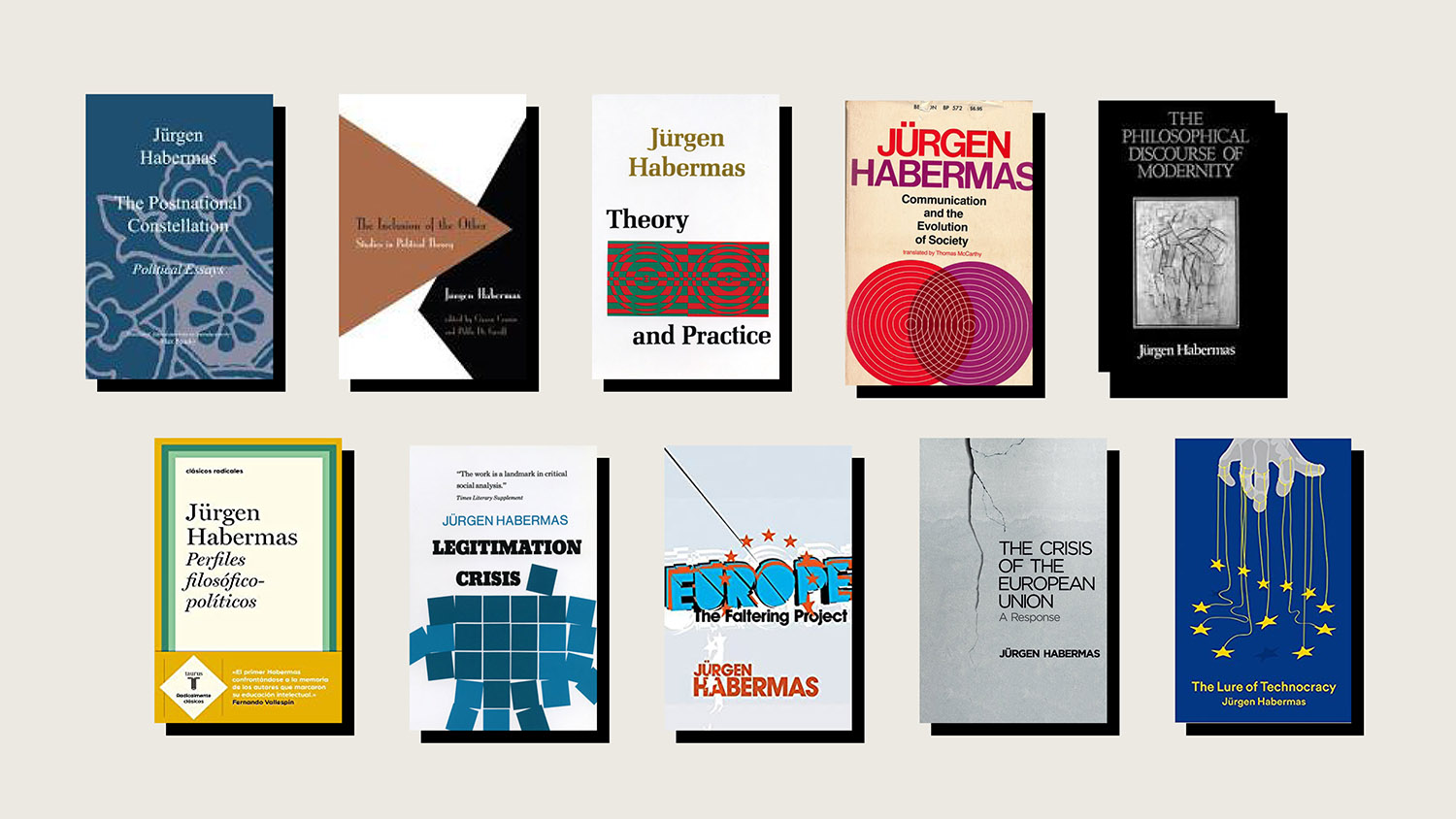 A selection of Habermas' many influential books over the years.