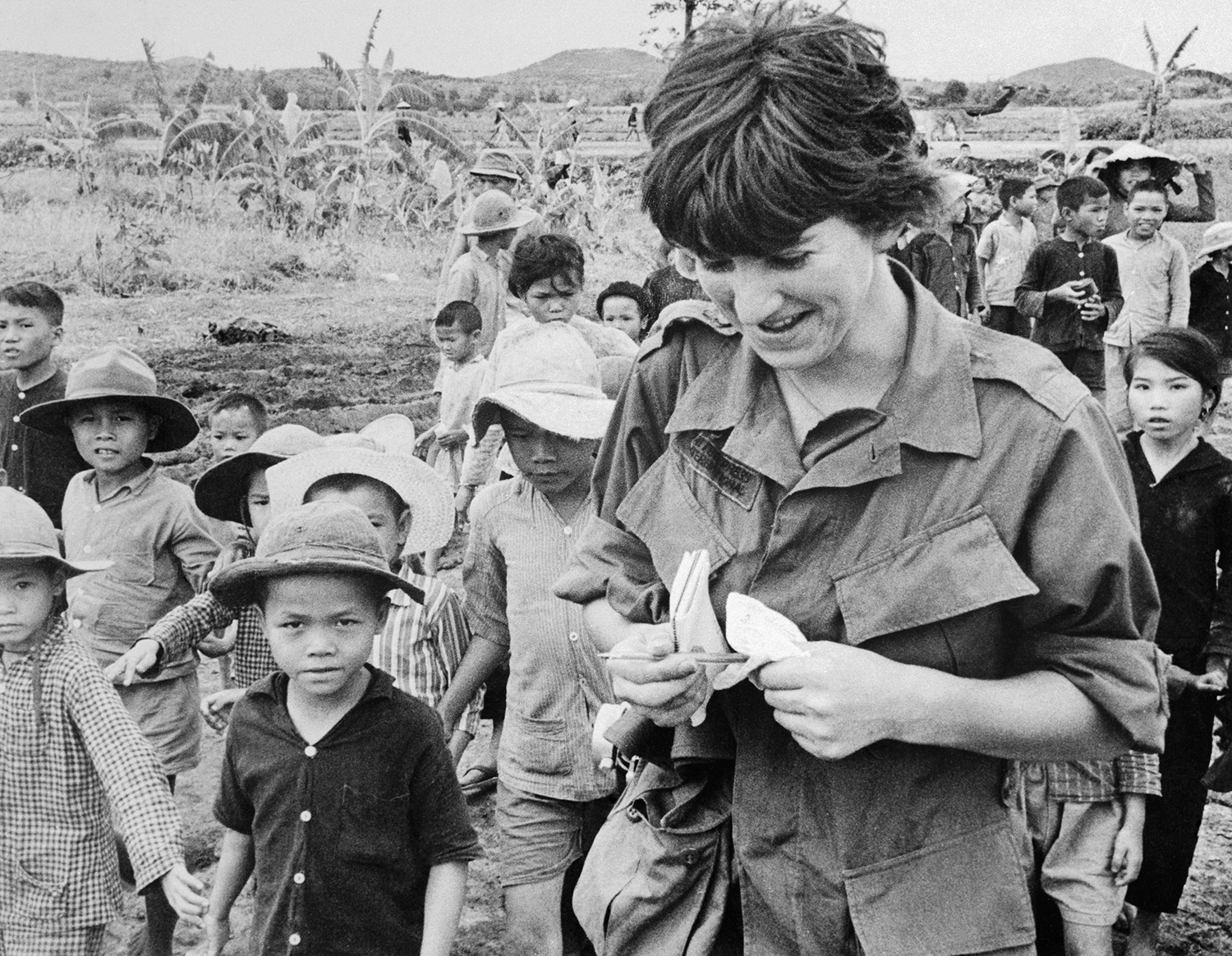 Webb at a refugee camp during the Vietnam War, circa 1968.