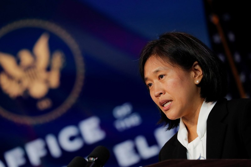 Katherine Tai speaks after then President-elect Joe Biden announced her nomination to be U.S. trade representative