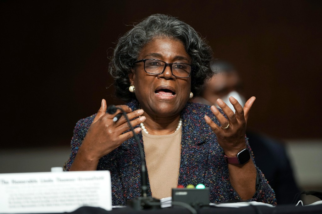 Linda Thomas-Greenfield answers questions during her confirmation hearing before the Senate Foreign Relations Committee in Washington on Jan. 27.
