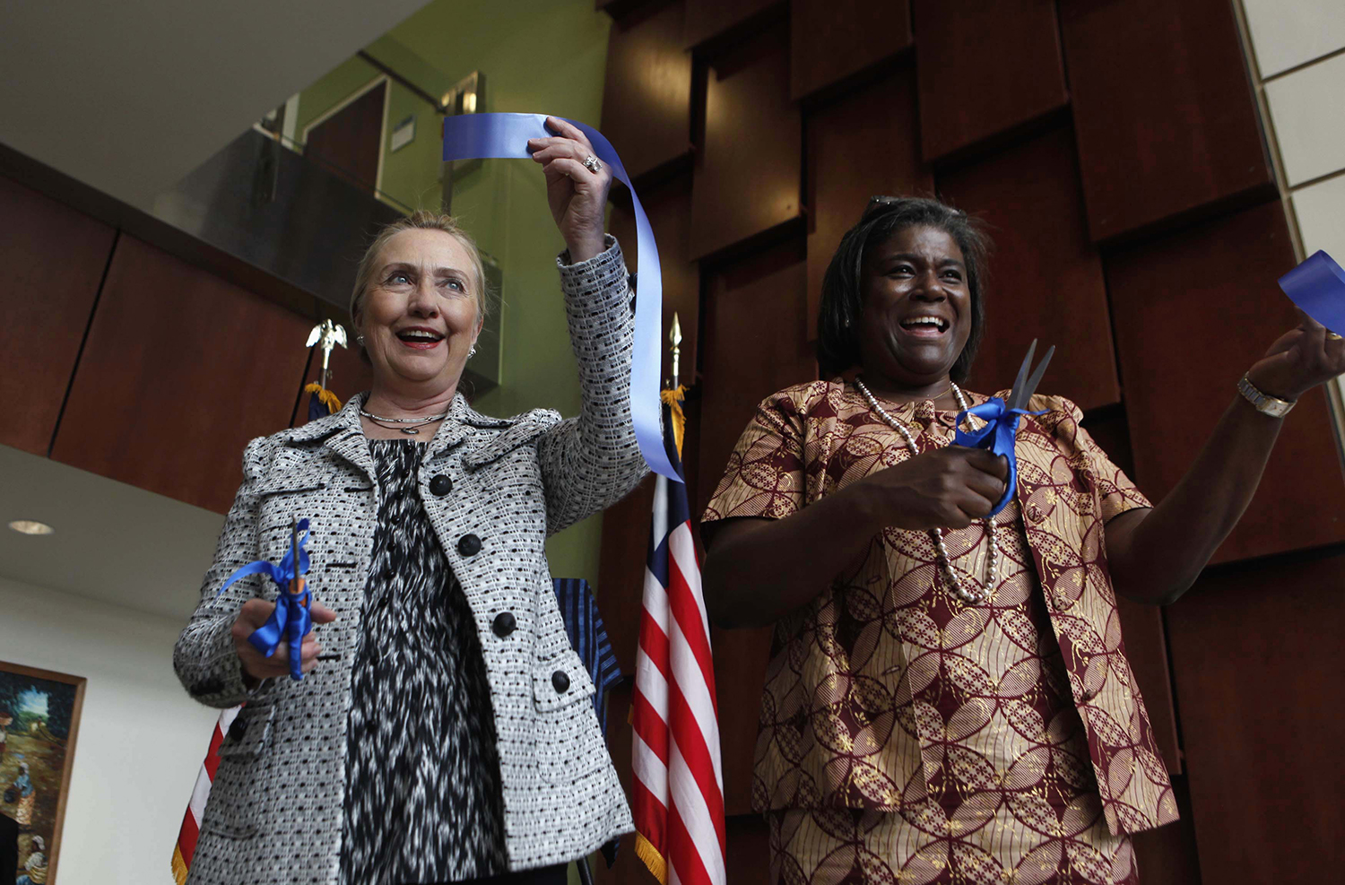 U.S. Secretary of State Hillary Clinton with Thomas-Greenfield at the new U.S. Embassy in Monrovia, Liberia, on Jan. 16, 2012.