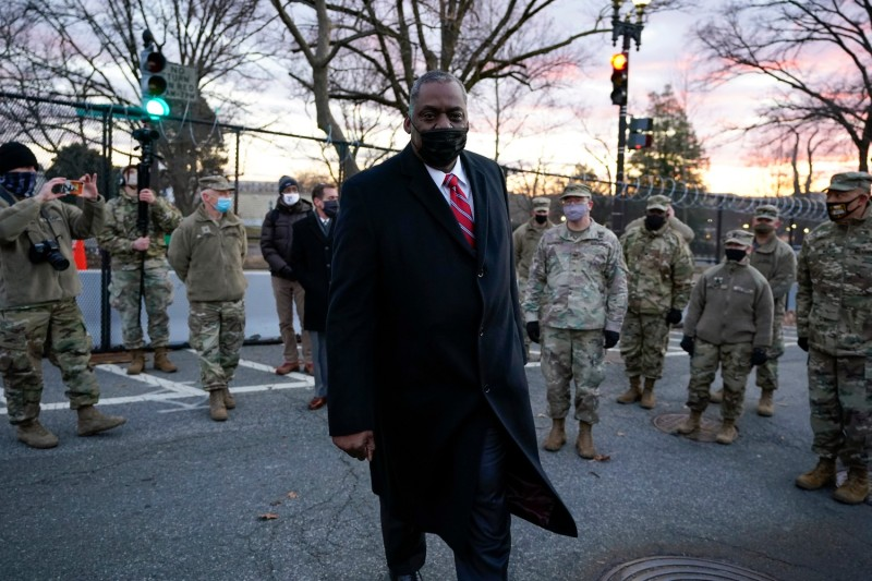 U.S. Secretary of Defense Lloyd Austin visits National Guard troops deployed at the Capitol on Jan. 29.