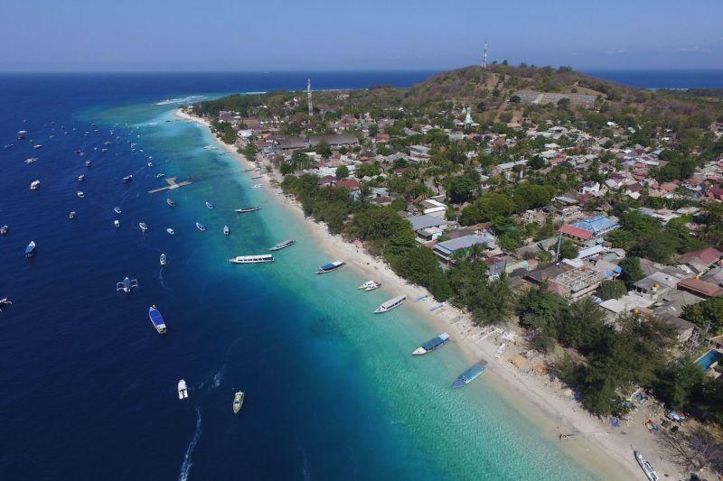An aerial view of Gili Trawangan island near Lombok Island, Indonesia.
