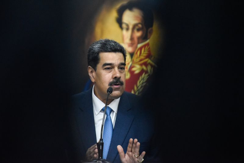 Venezuelan President Nicolás Maduro speaks during a press conference at Miraflores Palace in Caracas on Feb. 14, 2020.