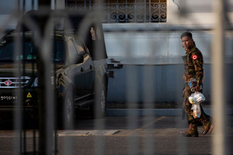 A soldier walks in the City Hall compound in Yangon, Myanmar, on Feb. 1.
