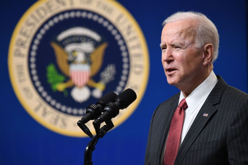 US President Joe Biden speaks about the situation in Myanmar in the Eisenhower Executive Office Building in Washington, D.C., February 10, 2021.