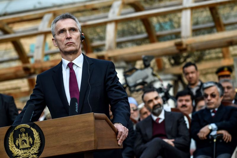 NATO Secretary-General Jens Stoltenberg at a press conference at the presidential palace in Kabul on Feb. 29, 2020.