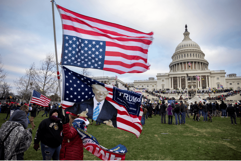 Supporters of President Donald Trump gather in front of the U.S. Capitol to protest the ratification of President-elect Joe Biden's Electoral College victory in Washington on Jan. 6.