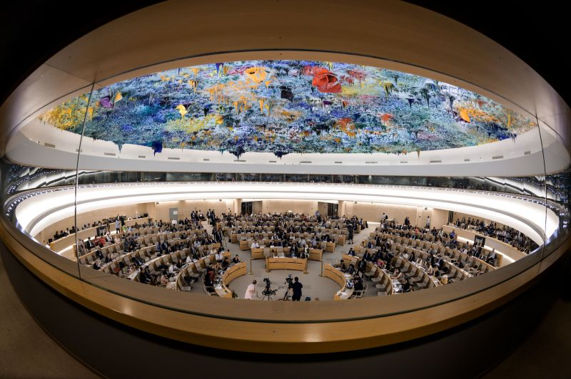 The United Nations Human Rights Council during a debate about the killing of Saudi journalist Jamal Khashoggi in Geneva on June 26, 2019.