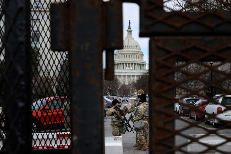 Members of the National Guard stand watch at the U.S. Capitol