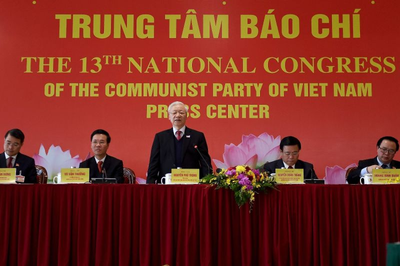 Nguyen Phu Trong, Vietnam's newly reelected Communist Party secretary-general, stands at the party's 13th National Party Congress in Hanoi, on Feb. 1.