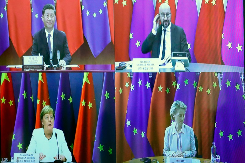 Chinese President  Xi Jinping, European Council President Charles Michel, German Chancellor Angela Merkel, and European Commission President Ursula von der Leyen hold a video conference during the EU-China summit on Sept. 14, 2020.