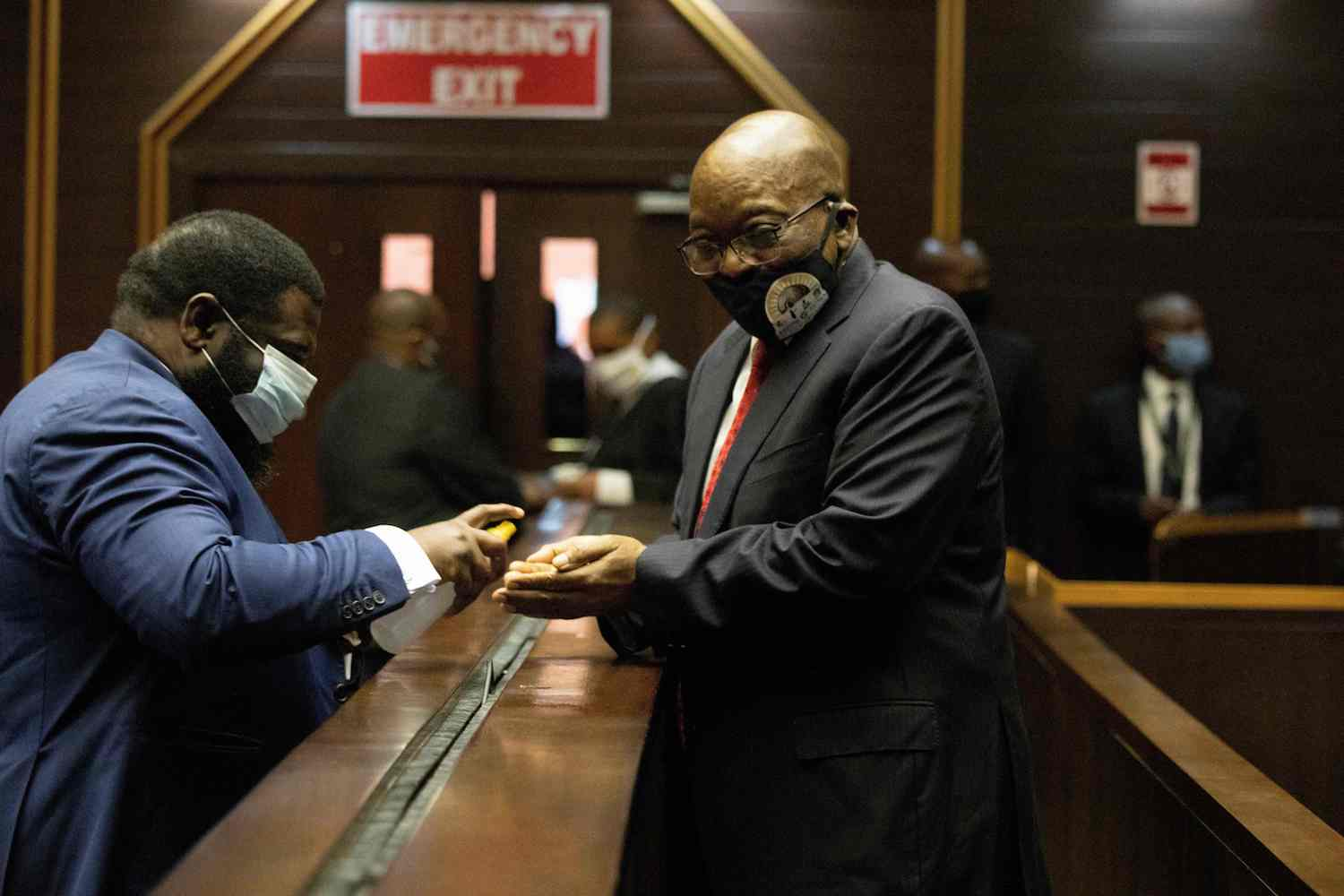 Former South African President Jacob Zuma appears at the Pietermaritzburg High Court in Pietermaritzburg, South Africa, on June 23, 2020.
