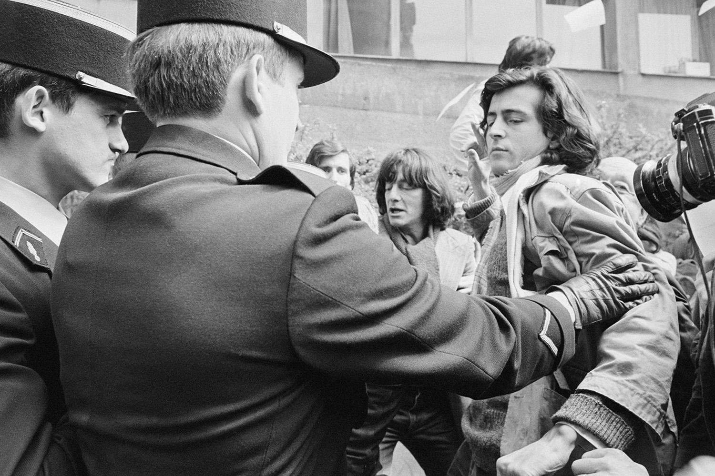 Bernard-Henri Levy protests in Paris in 1978.