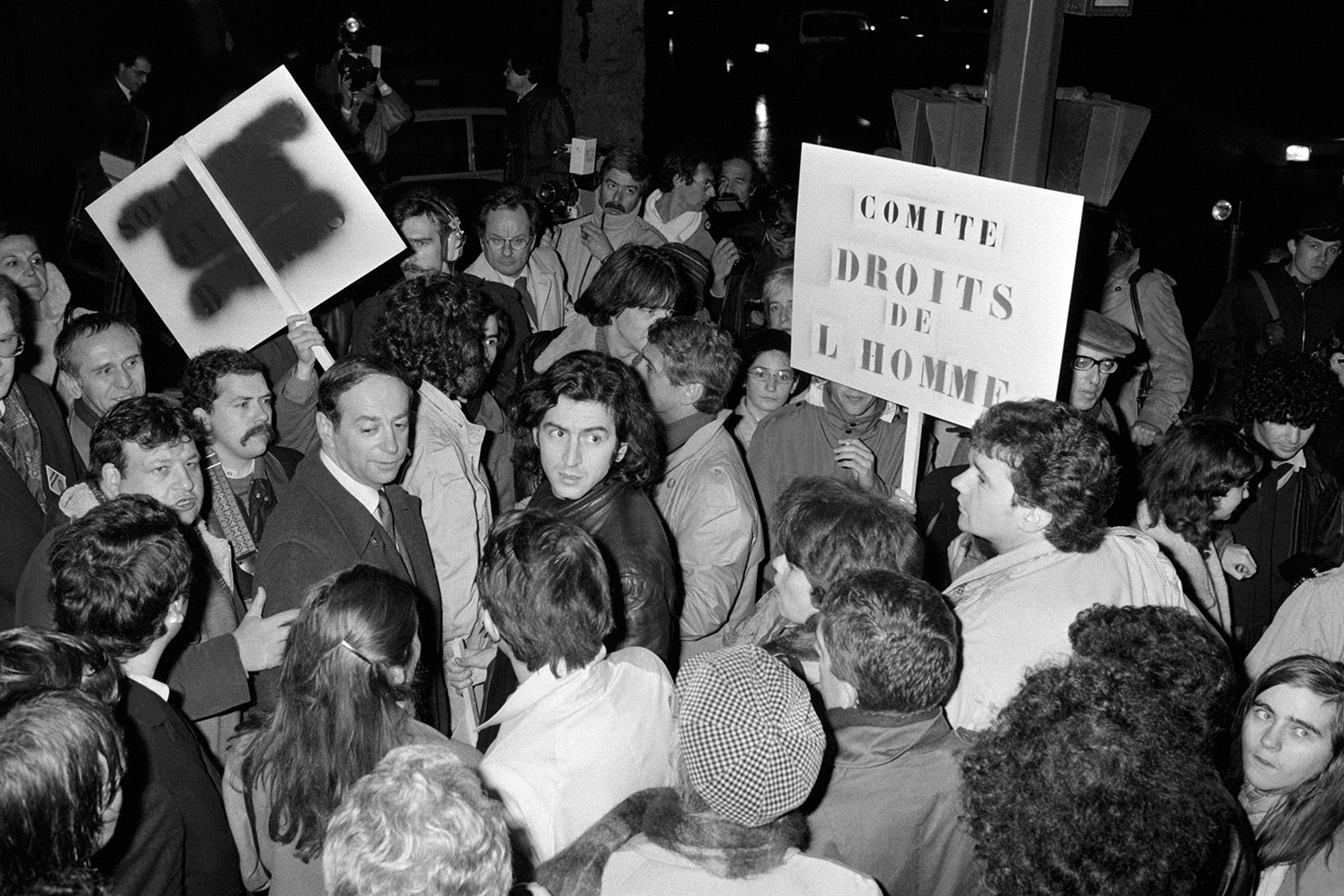 Bernard-Henry Levi during a protest in front of the Soviet Embassy in Paris in 1981.