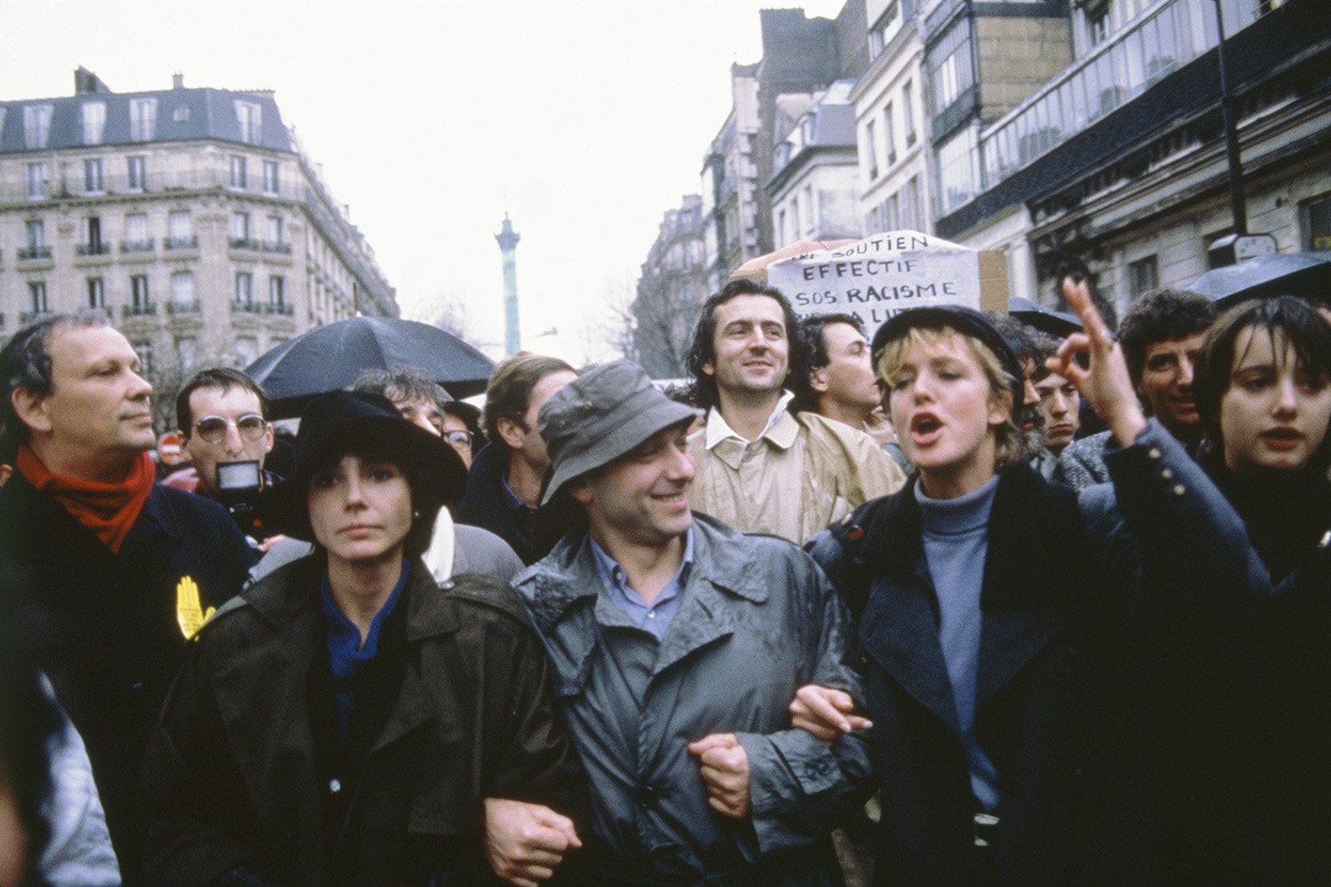 Bernard-Henri Levy among the crowd during a demonstration for SOS Racisme in 1985.