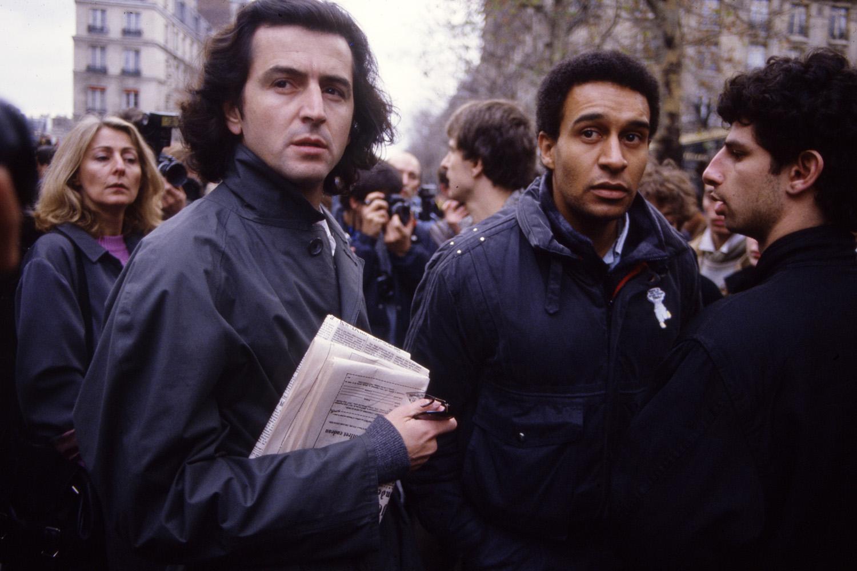 Bernard-Henri Levy and SOS Racisme president Harlem Desor in 1986.