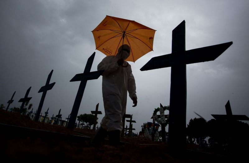 A worker wearing a protective suit and carrying an umbrella walks past the graves of COVID-19 victims at the Nossa Senhora Aparecida cemetery, in Manaus, Brazil, on Feb. 25, 2021. - Brazil surpassed 250,000 deaths due to COVID-19.