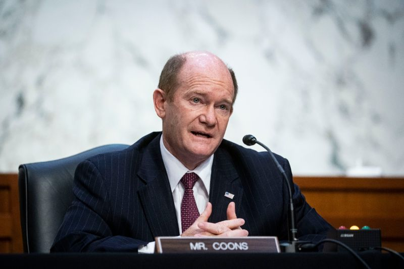 U.S. Sen. Chris Coons speaks during a meeting of the Senate Judiciary Committee at the U.S. Capitol in Washington on Feb. 22.