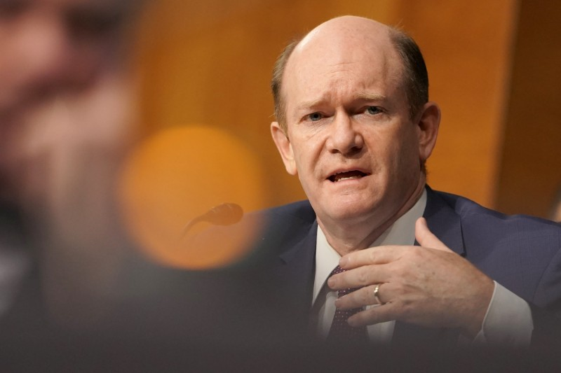 Sen. Chris Coons speaks at a Senate hearing.
