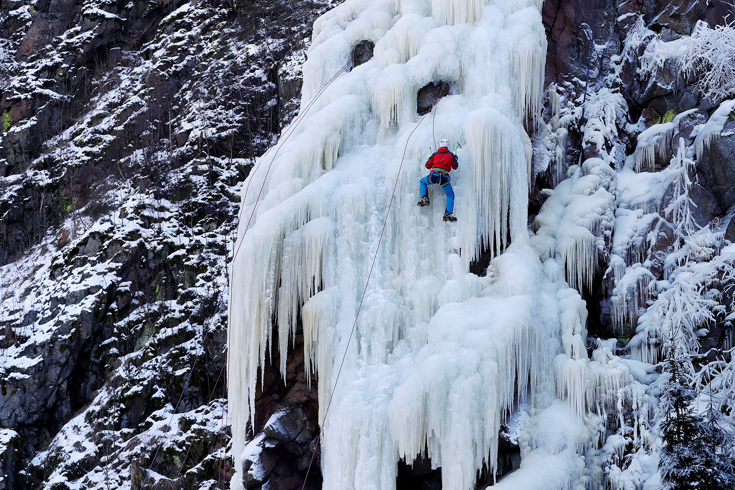 A man climbs an artificial wall of ice in the village of Vir, Czech Republic, on Feb. 14.  David W Cerny/REUTERS