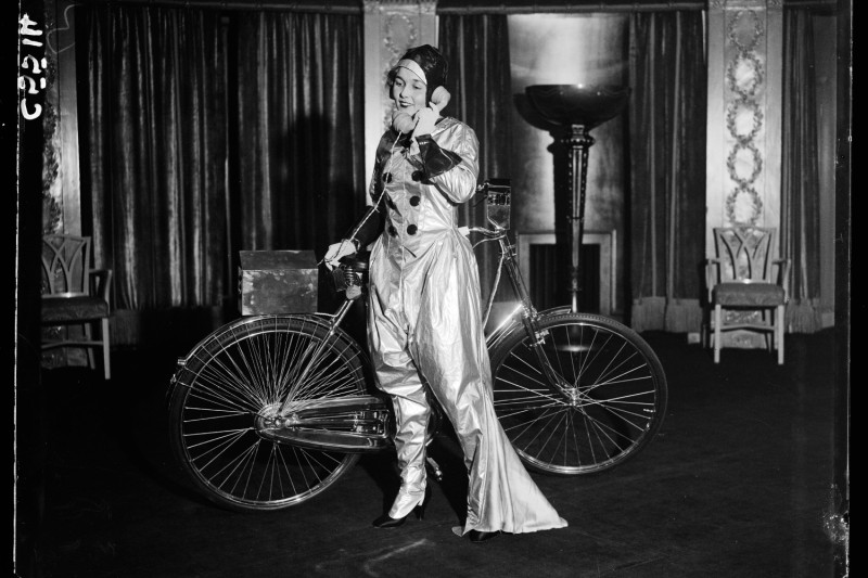 A photograph of a futuristic cyclist taken in London for the Daily Herald newspaper on Nov. 29, 1933.