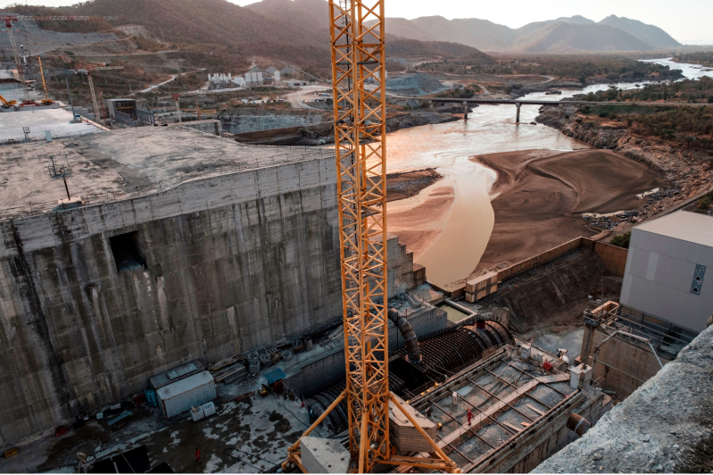 A view of the Blue Nile river as it passes through the Grand Ethiopian Renaissance Dam near Guba, Ethiopia, on Dec. 26, 2019.