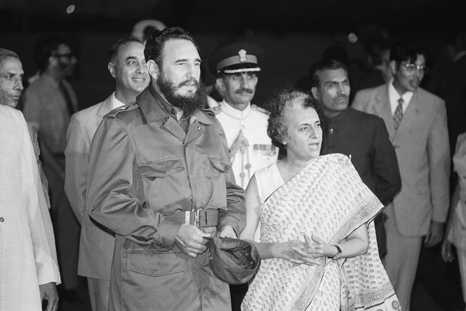 Fidel Castro is met by Indira Gandhi on his arrival at the airport in India on Sept. 11, 1973.