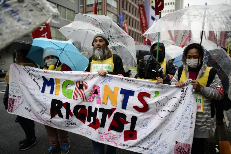 Migrant workers protest for better labor laws in Tokyo.