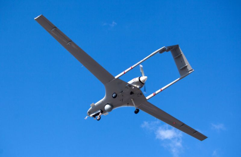 A Turkish-made Bayraktar TB2 drone flies at Gecitkale military airbase near Famagusta in the self-proclaimed Turkish Republic of Northern Cyprus (TRNC) on December 16, 2019.