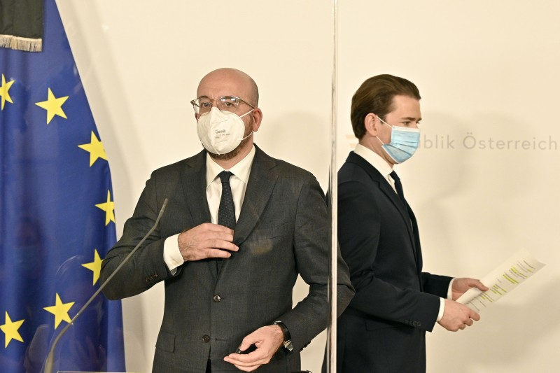 Sebastian Kurz and Charles Michel wear face masks.