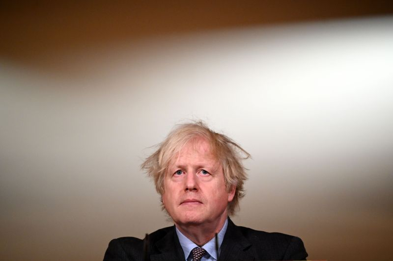 British Prime Minister Boris Johnson during a televised press conference at 10 Downing Street on Feb. 22 in London.