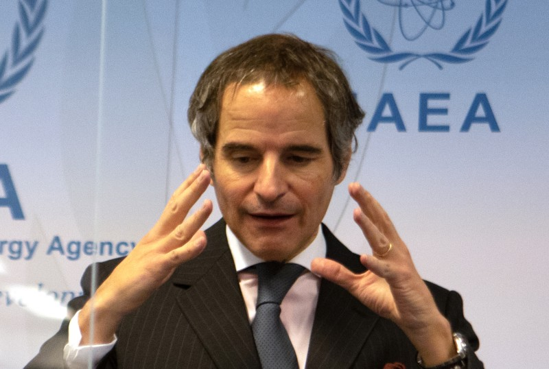 Rafael Grossi speaks at an IAEA press conference.