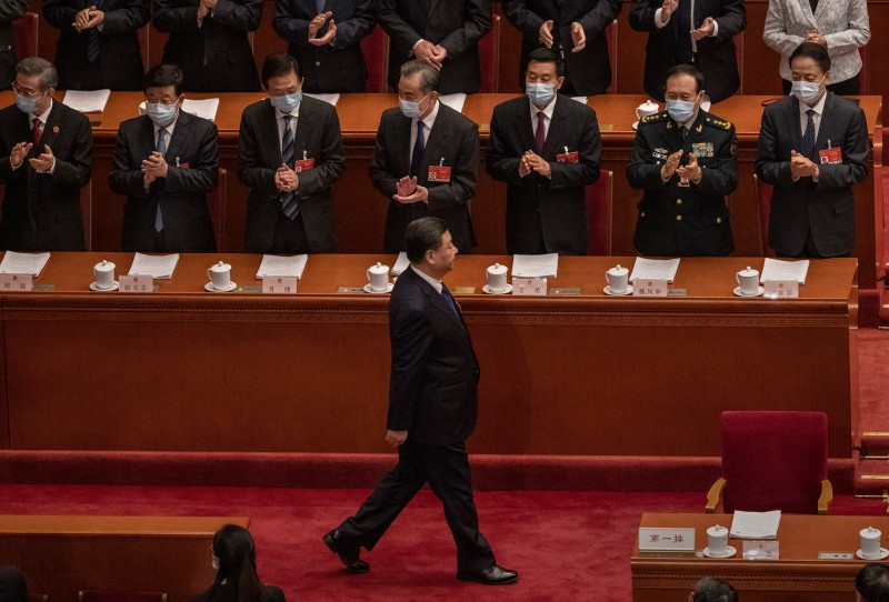 Chinese President Xi Jinping at the Great Hall of the People.