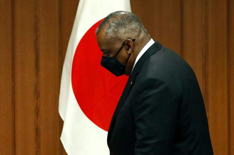 US Secretary of Defence Lloyd Austin arrives for a bilateral meeting with Japan's Defence Minister Nobuo Kishi at the Defence Ministry in Tokyo on March 16, 2021.
