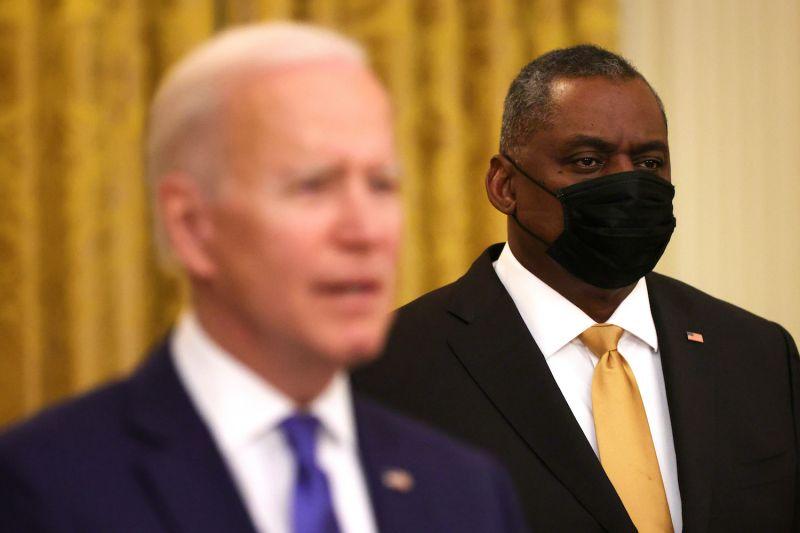 U.S. President Joe Biden with Defense Secretary Lloyd Austin at the White House, Mar. 8.
