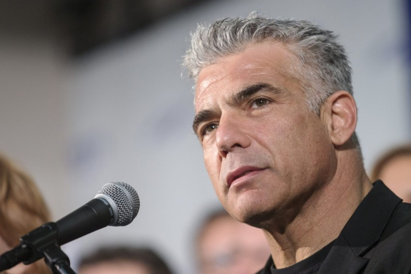 Israeli lawmaker and leader of centrist Yesh Atid party, Yair Lapid, speaks at a press conference in Tel Aviv, Israel, on March 2, 2015.