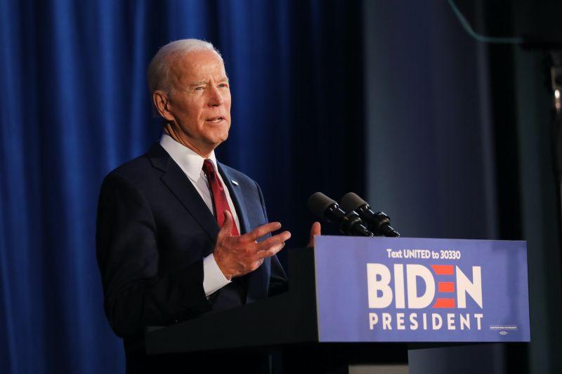 Then-Democratic presidential candidate Joe Biden